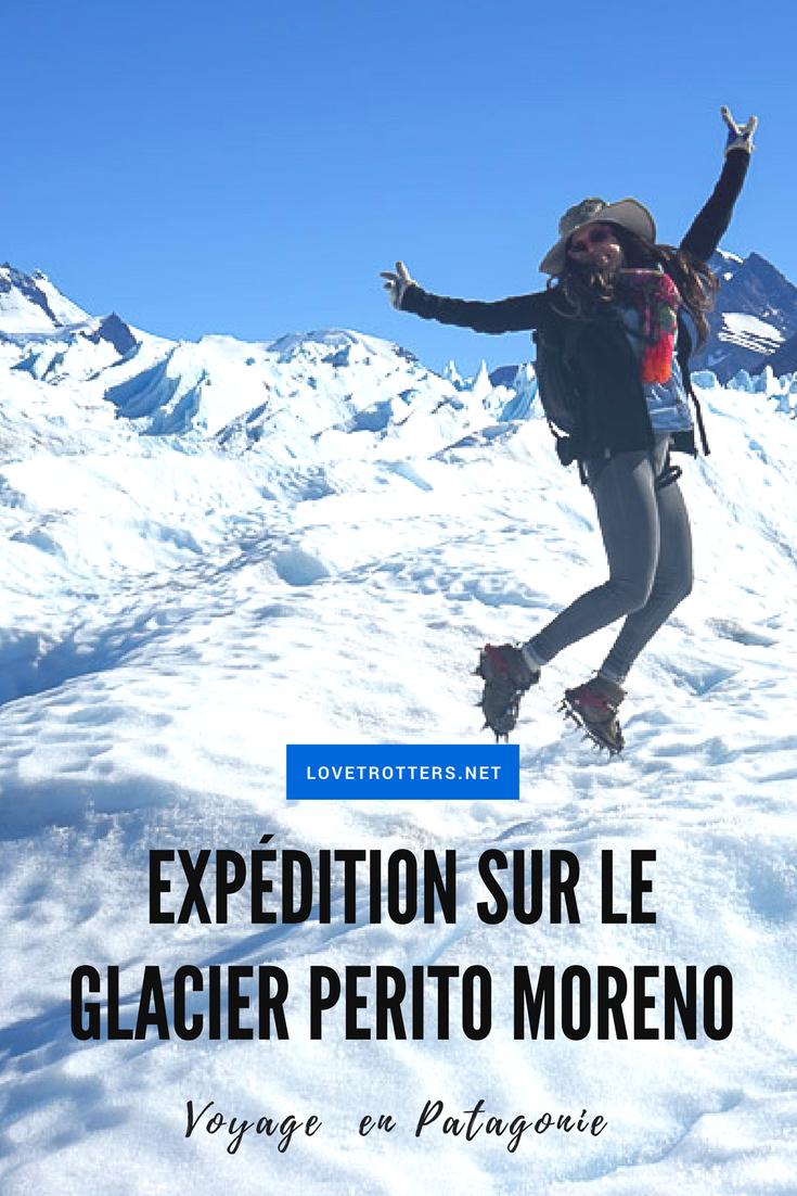 Randonnée sur glace en crampons et harnais sur le glacier Perito Moreno en Argentine