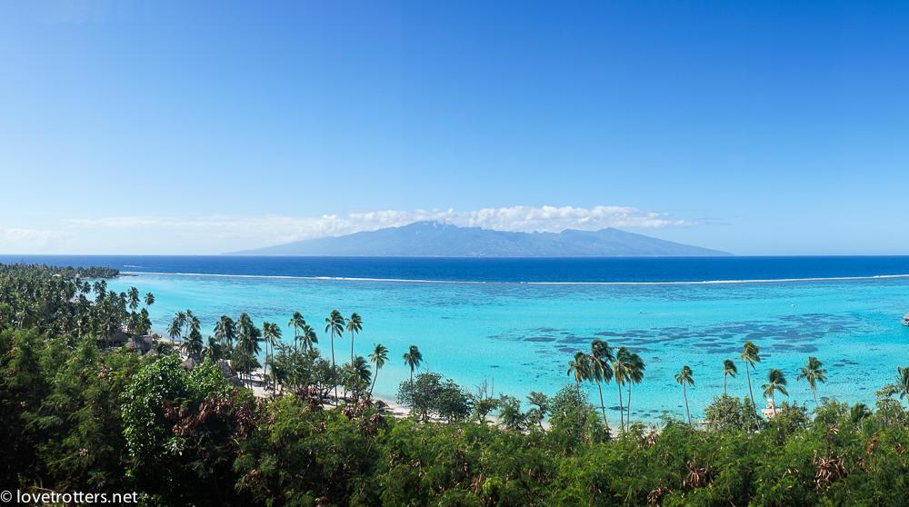 Vue panoramique du lagon de moorea