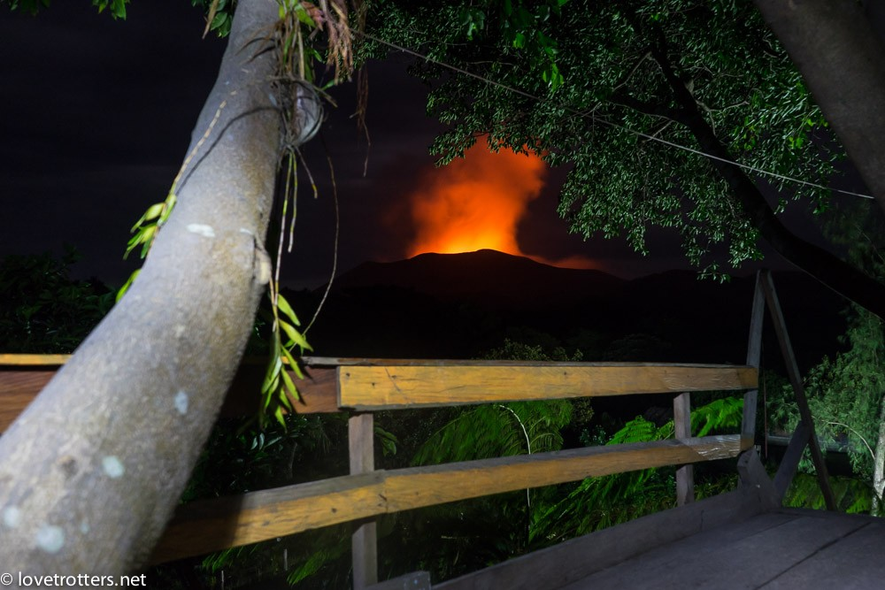 View from the treehouse on the Yasur volcano by night