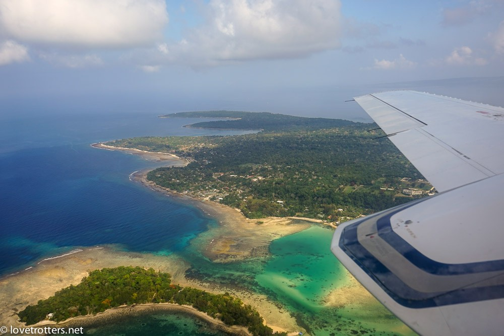 View from unity airlines plane on port vila