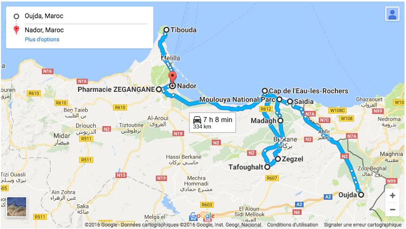 Itinéraire d'un roadtrip à travers la région de l'Oriental