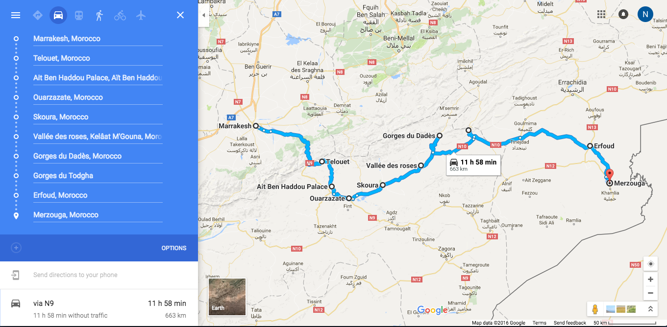 Itinéraire roadtrip de Marrakech à Merzouga