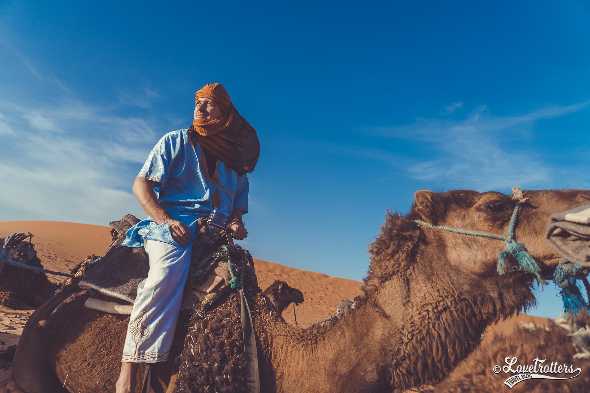 Caravane de dromadaire dans le désert de Merzouga