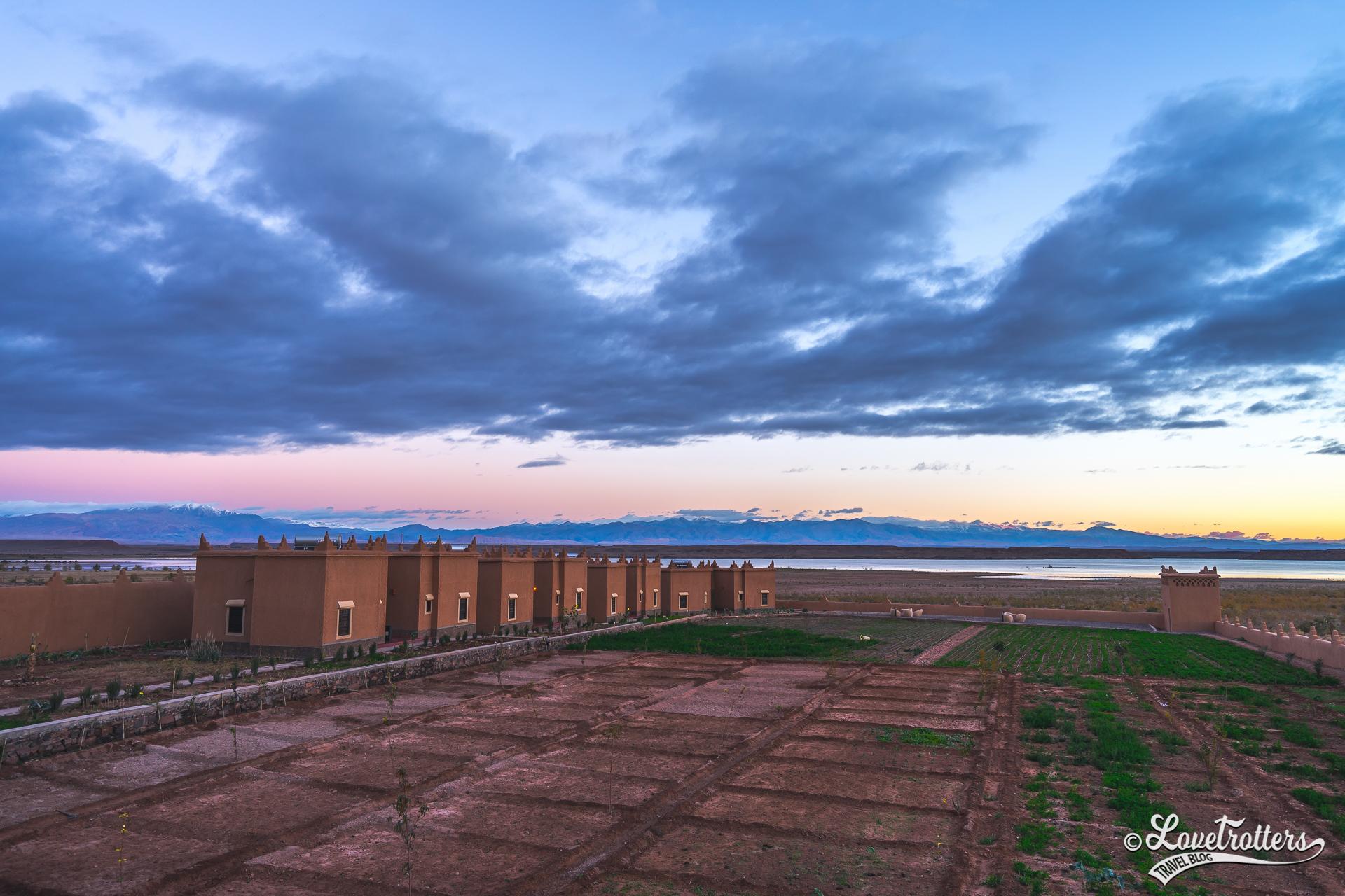 Lever de soleil sur l'Ecolodge l'île de Ouarzazate