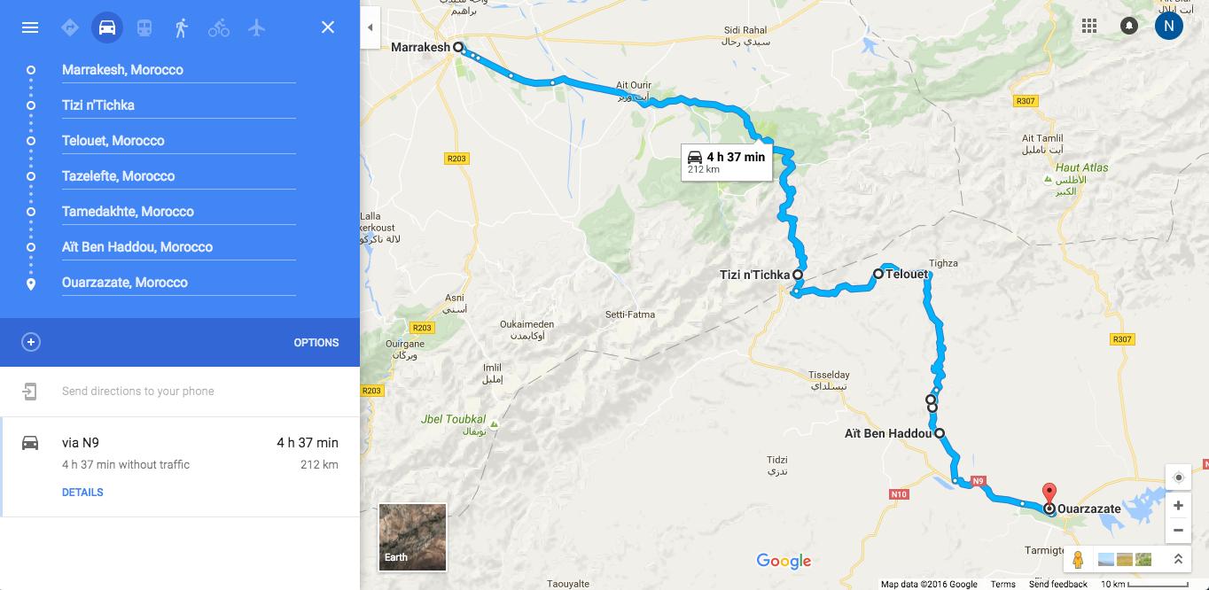Itinéraire d'un roadtrip de Marrakech à Ouarzazare à travers la vallée Ounila