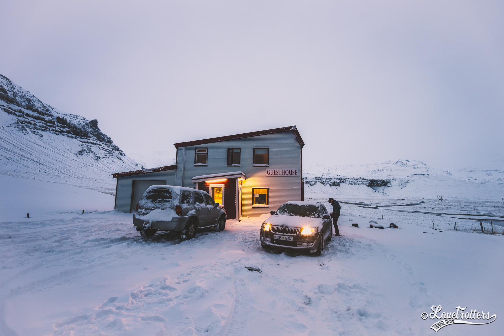 Roadtrip en Islande l'hiver - notre auberge sur la péninsule Snaefelsness