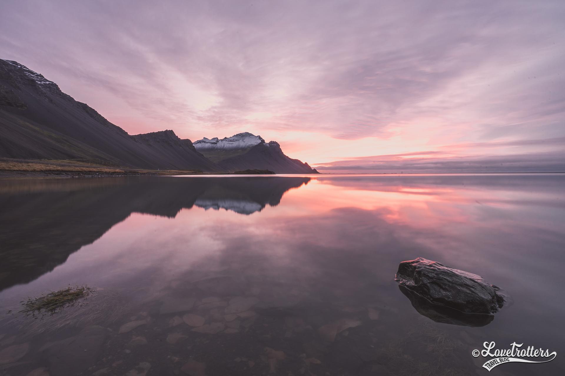 Lever de soleil près de Hofn en Islande