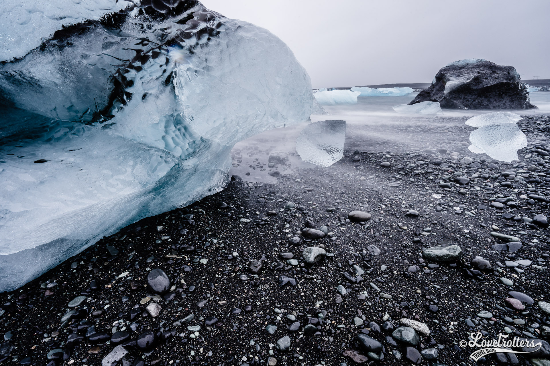 Les icebergs échoués sur la plage des diamants en Islande