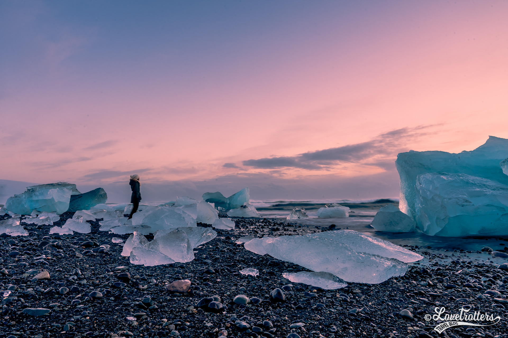 Diamond beach en Islande l'hiver