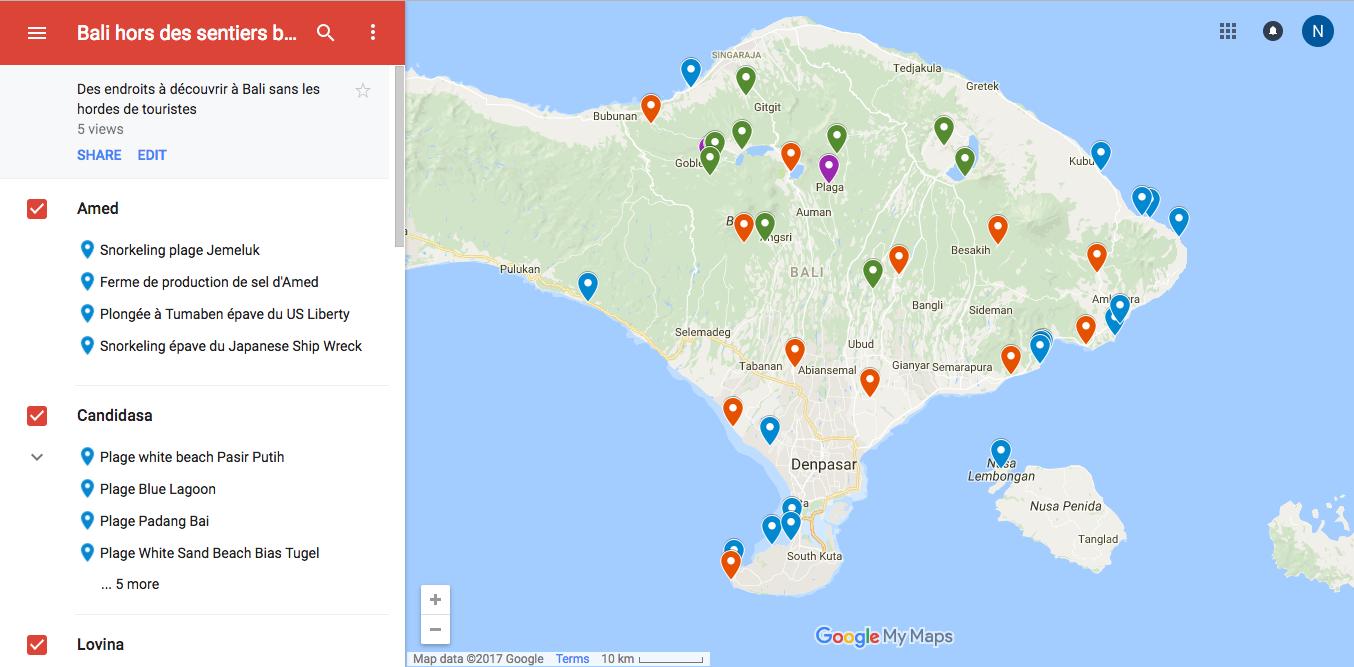 Carte de voyage à Bali hors des sentiers battus. Voyager à Bali autrement